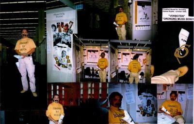 Ignored by media - Norway don't dare. Performance som skapte oppstyr på den 50'ende internasjonale bokmesse i Frankfurt. Tema der var: Menneskerettigheter og ytringsfrihet.